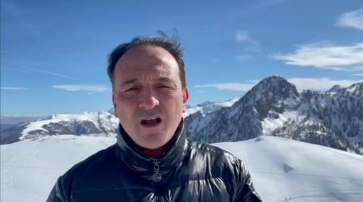 Alberto Cirio sulla neve