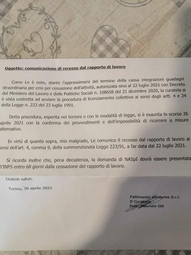 Ex Embraco, arrivano le lettere di licenziamento dalla curatela: fine del rapporto a partire dal 22 luglio