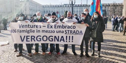 Manifestazione dei lavoratori ex Embraco