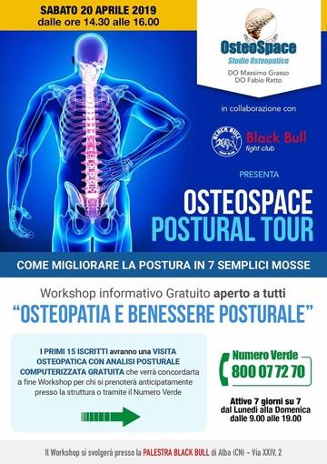 Postural tour: appuntamento - gratuito - ad Alba, sabato 20 aprile, con Osteospace