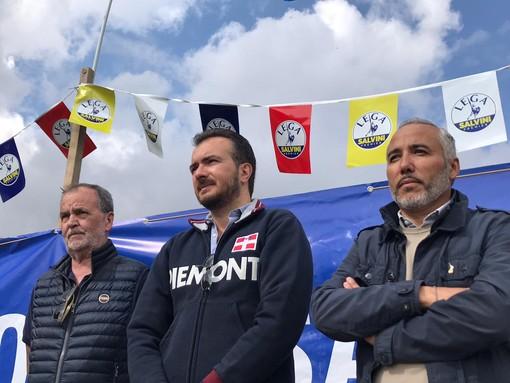 Il Senatore Roberto Calderoli, il capogruppo alla Camera dei Deputati Riccardo Molinari e il vicepresidente della Regione Piemonte Fabio Carosso