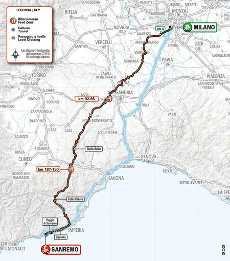 Ciclismo, la Milano-Sanremo cambia percorso e passa anche per l'Astigiano