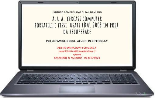 Si cercano computer usati per trasformare l'emergenza in opportunità, progetto dell'Istituto comprensivo di San Damiano