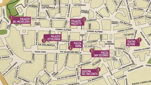 La mappa del centro storico di Asti con indicate le aree coinvolte nella manifestazione
