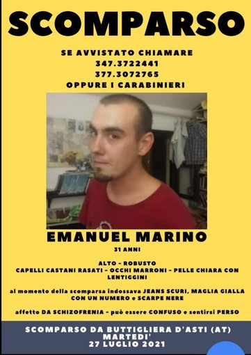 Quasi una settimana fa spariva da Buttigliera Emanuel Marino. Le ricerche ancora senza esito