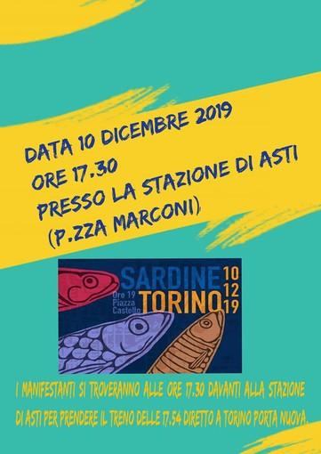 """Anche le """"sardine"""" astigiane parteciperanno al flash mob in piazza Castello"""