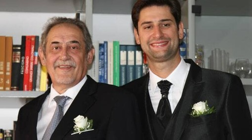 Carlo Franco ritratto con il figlio Alessandro in un momento felice