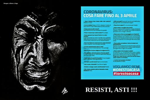 """""""Resisti, Asti!"""": l'arte al servizio dell'informazione. I disegni di un astigiano diventano cartelli anti Coronavirus (FOTOGALLERY)"""