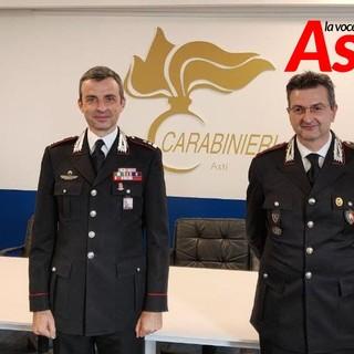 Il neo comandante del Reparto Operativo tenente colonnello Vittorio Balbo (a destra) ritratto con il comandante provinciale Pierantonio Breda