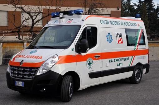 Una delle ambulanze della Croce Verde di Asti