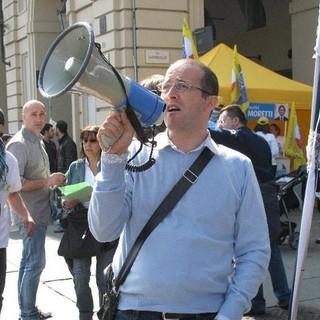 Claudio Delli Carri, segretario regionale Nursing Up, ritratto durante una manifestazione pre Covid