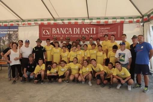 I ragazzi che hanno partecipato al Campo Scuola  con i volontari astigiani ed il presidente della Sezione ANA di Asti