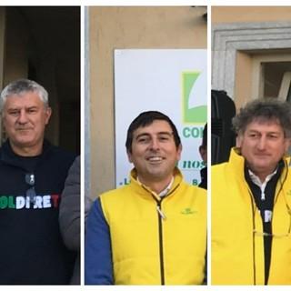 Nel collage fotografico, da sinistra a destra, il presidente di Coldiretti Asti Marco Reggio, il direttore Diego Furia e il vice direttore Luigi Franco
