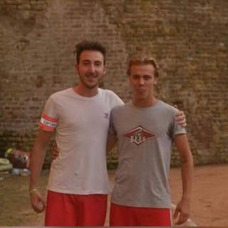 Il portiere del Moncalvo Marco Ferro (a sinistra) e Francesco Patelli