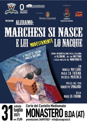 Locandina dello spettacolo su Aleramo in scena a Monastero Bormida
