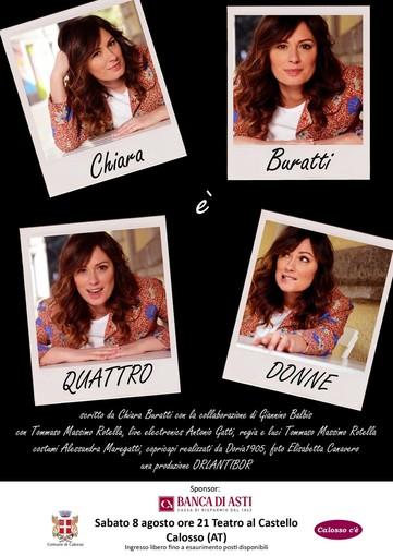 """A Calosso, """"Quattro donne"""" con Chiara Buratti, sabato otto agosto alle 21"""