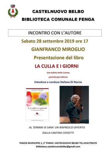 Presentazione castelnovese per il nuovo romanzo di Gianfranco Miroglio
