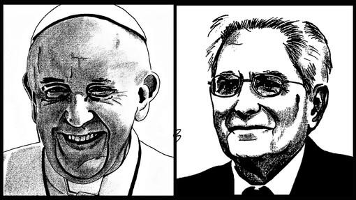 Ritratti Papa Francesco e Sergio Mattarella