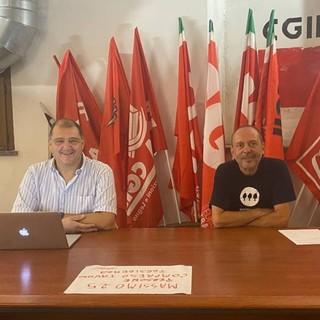 Il Segretario generale CGIL Asti Luca Quagliotti (a sinistra nella foto) e il responsabile del PIAM Alberto Mossino