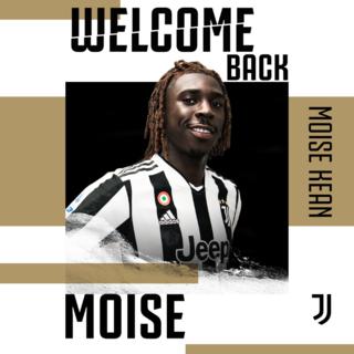 L'immagine con cui la Juventus ha accompagnato l'annuncio del ritorno di Kean in bianconero