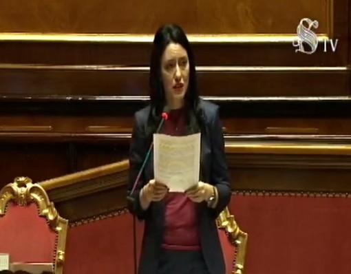 La ministra Azzolina nel corso del suo intervento al Senato