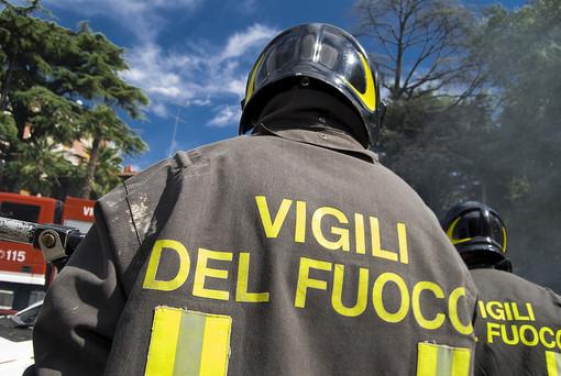 Vigili del fuoco di spalle - Immagine d'archivio