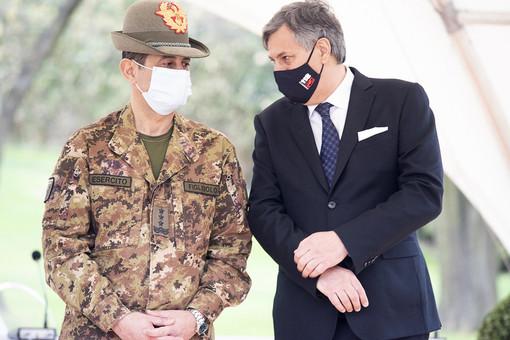 L'assessore Icardi con il generale Figliuolo durante la visita in Piemonte di quest'ultimo