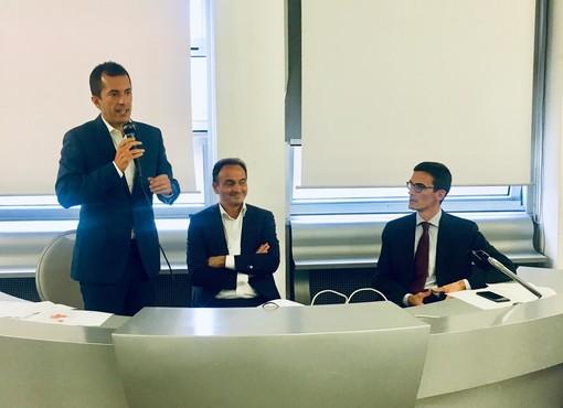 Il presidente Cirio con l'assessore Gabusi e il presidente della Provincia Paolo Lanfranco