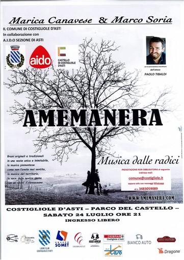 """Sabato 24 luglio il concerto del duo """"Amemanera"""", in favore di AIDO"""