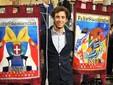 Luca Gippa con i drappi del Paliotto 2019