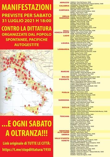 Anche ad Asti e a Nizza la manifestazione contro il green pass, con il passaparola su Telegram