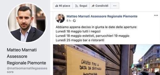 """L'assessore regionale Marnati spara su Facebook le aperture di bar, ristoranti ed estetiste ma la Presidenza frena: """"Non è ancora ufficiale"""""""