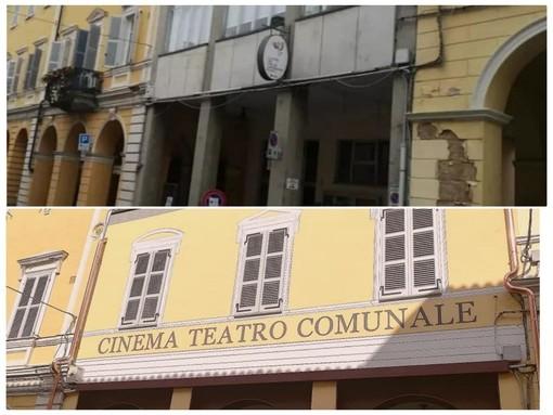 Il cinema-teatro del paese e la chiesa della Confraternita (foto a fine articolo) prima e dopo i restauri