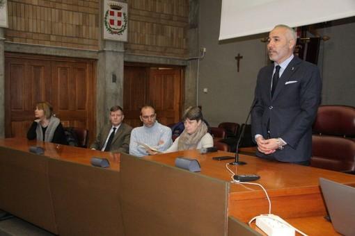 Il vicepresidente Carosso durante il suo intervento in Provincia