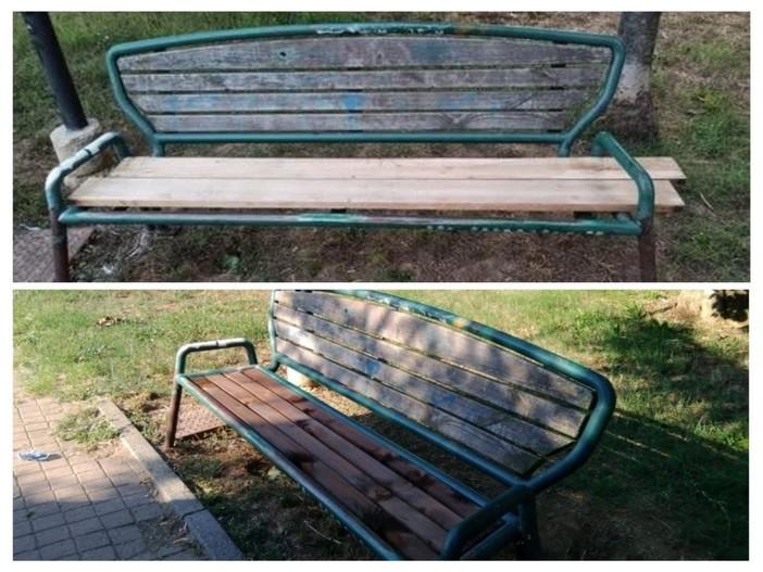 Panchina in Praia prima e dopo un intervento di riparazione