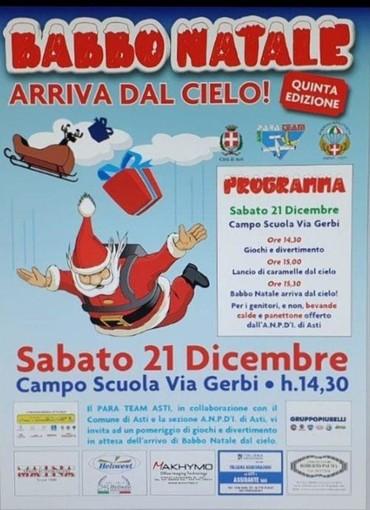 Oggi pomeriggio tutti al campo scuola di via Gerbi: arriveranno i Babbo Natale paracadutisti!