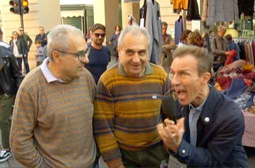 Un frame da Striscia la notizia con Militello e i gemelli astigiani Bugnano